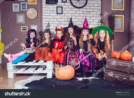 boys girls dressed halloween costumes show stock photo 327898994