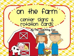 farm themed center signs and rotation cards by the teaching zoo tpt