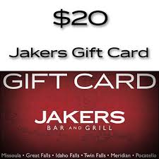 20 dollar gift card 20 gift card jakers bar and grill