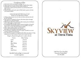 Green White And Yellow Flag Scorecard Skyview Golf And Country Club