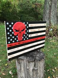 American Flag Specs American Flag Wood Flag Thin Red Line Flag Punisher