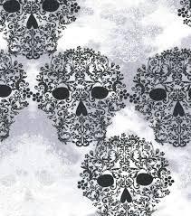 holiday inspirations fabric halloween gothic skulls foil joann