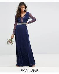 navy maxi dress amazing deal tfnc wedding pleated maxi dress with sleeves