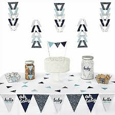 hello little one blue and silver baby shower theme