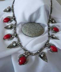 large silver bead necklace images Sterling silver pearl and red bead necklace one off designer jpg