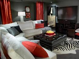 media room design ideas red accents white sectional and media