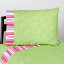 Girls Striped Bedding by Pink Lime Green Ruffle Girls Bedding Twin Full Queen