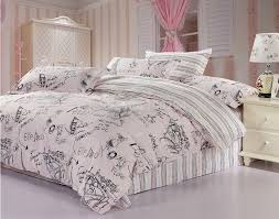 Pink And Gray Comforter 100 Cotton Pink Gray Scrawl 4pcs Full Queen Size Bedding Set