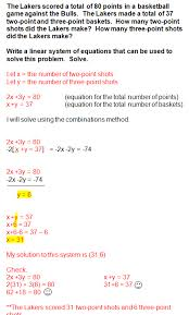 solving a system of equations word problems
