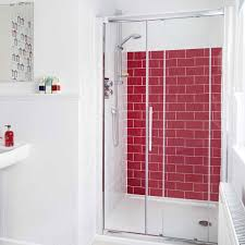 red shower cintinel com bathroom ideas white and red bathroom with white wainscoting