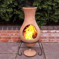 Red Clay Chiminea Mid Century Patio Ideas With Large Air Clay Chiminea And