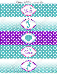 ariel inspired water bottle labels mermaid birthday
