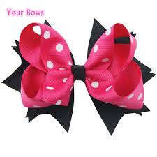 black and white polka dot ribbon 1pcs 5 inches white polka dots hair ribbon bows lovely bows pink