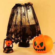 aerwo black spider halloween lace lamp shade cover for halloween