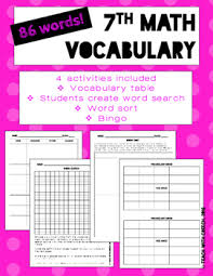 7th grade math vocabulary worksheets and activities bingo word