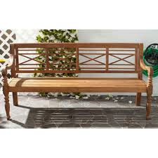Outdoor Wooden Benches Safavieh Karoo Natural Patio Bench Pat6704b The Home Depot