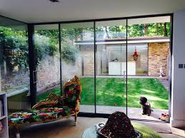 Wholesale Patio Doors Simple Landscaped City Garden With Large Sliding Doors At The End