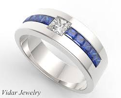 mens diamond wedding band princess cut blue sapphire and diamond wedding band for mens
