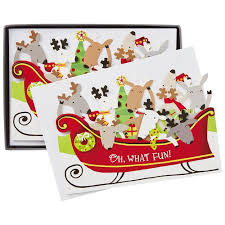 merry reindeer in sleigh cards box of 16 boxed cards