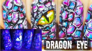 dragon eye glow in the dark freehand nail art tutorial