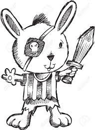 doodle sketch pirate bunny rabbit illustration royalty free