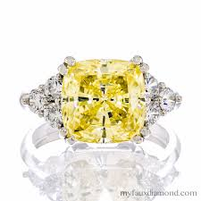 canary engagement rings cushion cut canary cz silver engagement ring by my faux