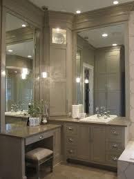 ultracraft corner double vanity with custom corner tower with