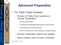toastmasters table topics contest questions chief judges training rick sharon dtm chief judge training district