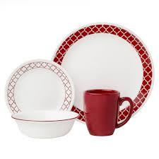 corelle livingware 16 dinnerware set crimson trellis