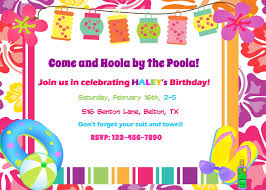 Invitation Card For Pool Party Extraordinary Hawaiian Pool Party Invitations 4 For Newest Article