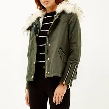river island khaki faux fur trim parka jacket in natural lyst