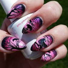 pink raven nails nail art hand painted ravens crows dead tree