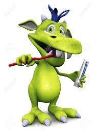cute friendly cartoon monster brushing teeth monster