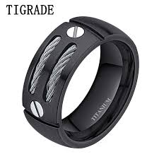 mens titanium wedding rings aliexpress buy tigrade 8mm silver black mens titanium ring