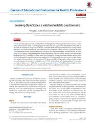 learning style scales a valid and reliable questionnaire pdf