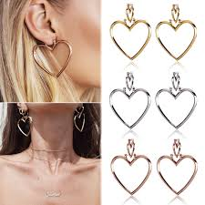 heart ear rings images 1 pair women hoop gold double heart earrings dangle hollow ear jpg
