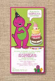 E Invitation Card Barney Theme E Invitation Barney Purple Green Invitation