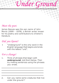 grade 6 reading lesson 3 poetry u2013 under ground places to visit