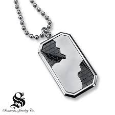 kay men u0027s dog tag necklace diamond accent stainless steel