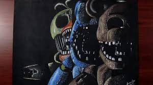 painting fnaf my cousin drew this title screen from fnaf 2 amino