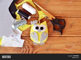 Handicraft For Home Decoration by Adorable Felt Owl Hand Sewn Bird Felt Pieces Scissors Thread