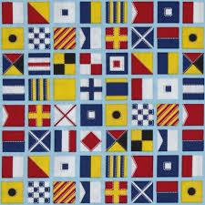 Nautical Home Decor Fabric by Kaufman Down By The Sea Flags Aqua Discount Designer Fabric