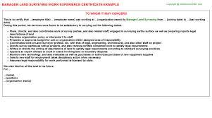 Land Surveyor Resume Sample by Manager Land Surveying Work Experience Certificate