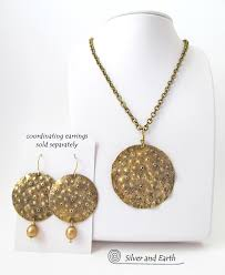 medallion necklace silver images Gold brass medallion pendant necklace with hammered organic jpg
