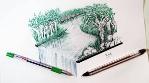 forest sketch with pen quick pen sketching tutorial youtube
