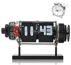 mechanical desk clock 2018 best gift electro mechanical flip clock with alarm and white