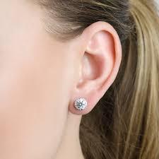 6mm stud earrings halo 6 mm cz stud earrings in 18kt white gold