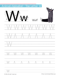tracing letter w with wolf free worksheets for kids
