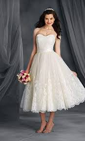 alfred angelo lace signature bridal dress with tea length skirt