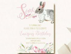 bunny birthday invitation first birthday by littlebirdieprints
